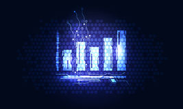 Finances icon for interface. Glowing blue graph icon on dark technology background Stock Photo