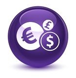 Finances icon glassy purple round button. Finances icon isolated on glassy purple round button abstract illustration Royalty Free Stock Images