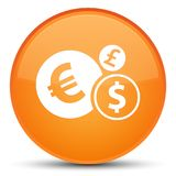Finances icon special orange round button. Finances icon isolated on special orange round button abstract illustration Royalty Free Stock Photos
