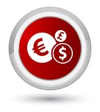 Finances icon prime red round button. Finances icon isolated on prime red round button abstract illustration Royalty Free Stock Images