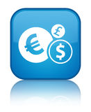 Finances icon special cyan blue square button Stock Image