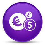 Finances icon special purple round button. Finances icon isolated on special purple round button abstract illustration Royalty Free Stock Photo