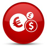 Finances icon special red round button. Finances icon isolated on special red round button abstract illustration Stock Image