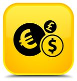 Finances icon special yellow square button. Finances icon isolated on special yellow square button abstract illustration Royalty Free Stock Photo