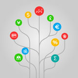 Finances and money  concept - colorful tree illustration. Finances and money concept - abstract tree shaped illustration with flat style icons Stock Images