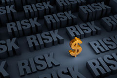 Finances At Risk. A small gold dollar sign stands out in a dark background of gray RISK rising up around it Stock Photography