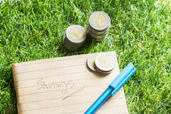Finances saving. Finances,saving,coin,money,home Royalty Free Stock Images