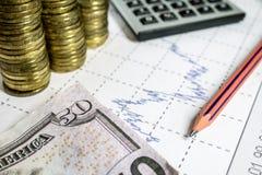 Financez l'anticipation commerciale avec le diagramme, la calculatrice, le crayon et les pièces de monnaie Images stock