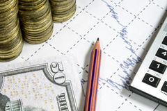 Financez l'anticipation commerciale avec le diagramme, le crayon et les pièces de monnaie Photo stock