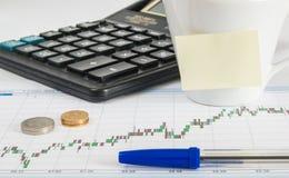 Financez le stylo d'argent de calculatrice de diagramme et la tasse de café avec un espace vide pour l'inscription Images libres de droits