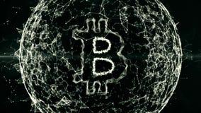 Financiële abstracte achtergrond, bitcoin in bedrijfsgebied van digitaal geld, munt, uitwisseling, financiën, markt, royalty-vrije illustratie