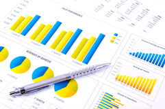Financiële Analyse met grafieken en metaalpen Royalty-vrije Stock Fotografie
