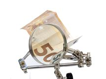 Financiële analyse van Europees geld stock afbeeldingen