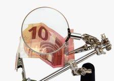 Financiële analyse van Europees geld stock illustratie