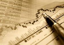 Financiële blauwe grafiekachtergrond Stock Afbeeldingen
