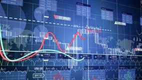 Financiële cijfers en diagrammen die winsten verhogen stock video
