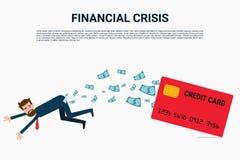 Financiële crisis Zakenman met creditcard, schuldconcept stock illustratie