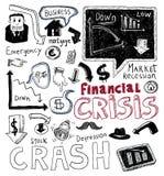 Financiële crisiskrabbel, hand getrokken illustratie Royalty-vrije Stock Afbeeldingen