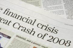 Financiële crisiskrantekoppen Royalty-vrije Stock Afbeelding