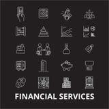 Financiële de pictogrammenvector van de de diensten editable die lijn op zwarte achtergrond wordt geplaatst De financiële illustr stock illustratie