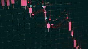 Financiële diagramdaling op markt à la baisse, die recessie of financiële crisis tonen stock foto