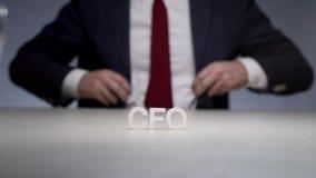 Financiële directeur in bankholding De belangrijkste financiële ambtenaar leidt economisch stock footage