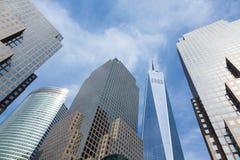 Financiële district het van de binnenstad van Manhattan, New York - de V.S. Stock Afbeeldingen