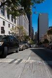 Financiële Districtsgebouwen en straten in San Francisco California de V.S. Skyscrappers in San Francisco Financial District Royalty-vrije Stock Foto's