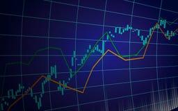 Financiële effectenbeursgrafiek op donkerblauwe achtergrond stock illustratie