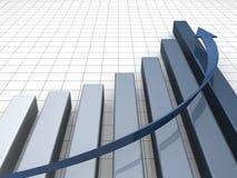 Financiële en bedrijfsgrafiekgrafiek met pijl Royalty-vrije Stock Foto