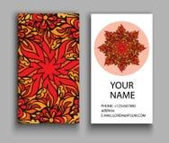 Financiële en BedrijfsReeks Uitstekende decoratieve elementen Sier bloemenadreskaartjes, oosters patroon Stock Afbeeldingen