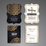 Financiële en BedrijfsReeks Uitstekende decoratieve elementen Sier bloemenadreskaartjes of uitnodiging met mandala royalty-vrije illustratie