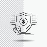 Financiële financiën, geld, veilig, het Pictogram van de veiligheidslijn op Transparante Achtergrond Zwarte pictogram vectorillus royalty-vrije illustratie
