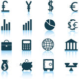 Financiële geplaatste pictogrammen Royalty-vrije Stock Fotografie