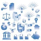 Financiële geplaatste pictogrammen Stock Foto's