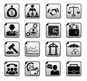 Financiële geplaatste pictogrammen Stock Fotografie