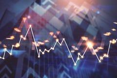 Financiële grafiek bij wolkenkrabberachtergrond Stock Foto's