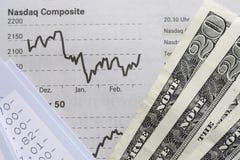 Financiële Grafiek, de verklaring van de Rekening en Dollars Stock Foto's
