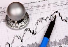 Financiële grafiek met een herinnering Stock Foto's