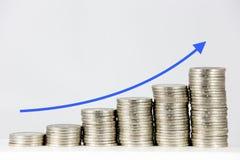 Financiële grafiek met muntstukken royalty-vrije stock fotografie