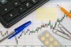 Financiële grafiek op een witte achtergrond met calculator, pillen, pen, potlood en paperclippen Stock Afbeeldingen