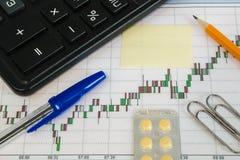 Financiële grafiek op een witte achtergrond met calculator, pillen, pen, potlood en van de paperclippensticker exemplaarruimte Royalty-vrije Stock Foto
