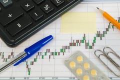 Financiële grafiek op een witte achtergrond met calculator, pillen, pen, potlood en van de paperclippensticker exemplaarruimte Royalty-vrije Stock Afbeelding