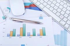 Financiële grafiekdocument, pen, toetsenbord en muis stock foto