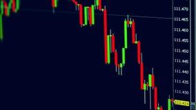 Financiële grafieken die op een monitor veranderen stock illustratie