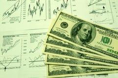 Financiële grafieken en de Dollar van de V.S. #3 Royalty-vrije Stock Fotografie
