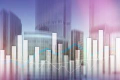Financiële grafieken en grafieken op vage commerciële centrumachtergrond Invesment en handelconcept royalty-vrije stock foto