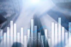 Financiële grafieken en grafieken op vage commerciële centrumachtergrond Invesment en handelconcept royalty-vrije stock afbeelding