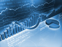 Financiële Grafieken met Cirkeldiagram Stock Afbeelding