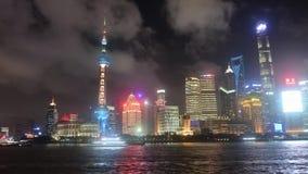 Financiële het centrumhorizon van China bij nachtvideo